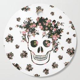 Flower Skull, Floral Skull, Pink Flowers on Human Skull Cutting Board