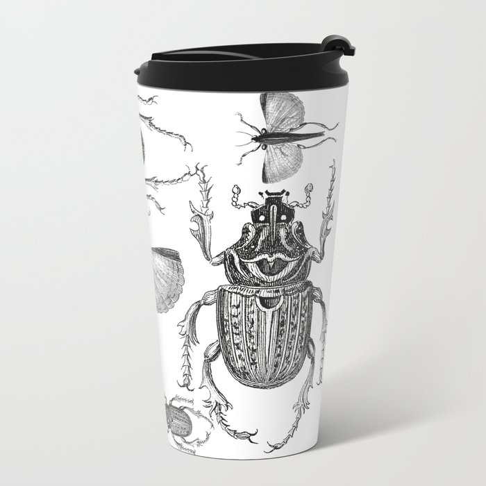 Vintage Beetle black and white drawing Metal Travel Mug