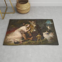 Scene from A Midsummer Night's Dream. Titania and Bottom by Edwin Henry Landseer (1848) Rug
