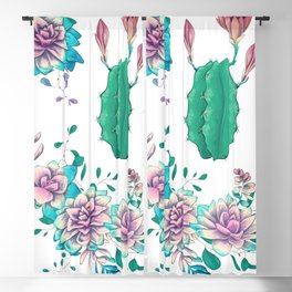 Colorful hand illustrated succulents and cacti Blackout Curtain
