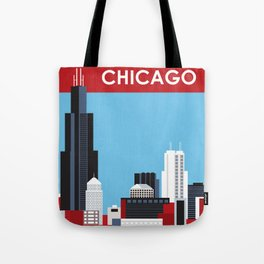 Chicago, Illinois - Skyline Illustration by Loose Petals Tote Bag