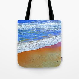 """""""Waves Of Rincon Beach #2"""" with poem: Enduring Ocean Tote Bag"""