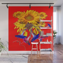 Morning Glories, Sunflowers Red Abstract Wall Mural