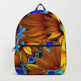 SURREAL GOLDEN SUNFLOWERS PEACOCK BLUE EYES Backpack