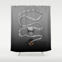 buffy Shower Curtains featuring Buffy - The Gentlemen Hush Box by BovaArt