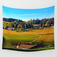 farm Wall Tapestries featuring From farm to farm by Patrick Jobst