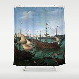 "Hendrik Cornelisz Vroom ""The Arrival of Elector Frederick V of the Palatinate and Elizabeth"" Shower Curtain"