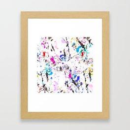 Modern pink black blue abstract paint splatters brushstrokes gold Framed Art Print