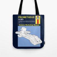 prometheus Tote Bags featuring Prometheus  by Paul Elder