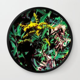 Yellow Flower of the Wood Wall Clock