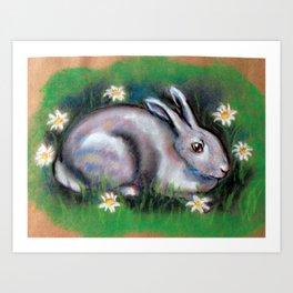 White Rabbit With Daisies Art Print