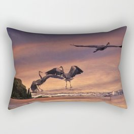 Herons At Sunset Rectangular Pillow