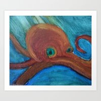cthulu Art Prints featuring Octopus by Samantha Bowie