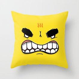 Yellow Smileys - Angry Throw Pillow
