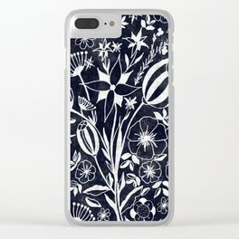 Indigo Blue Floral Bouquet Clear iPhone Case