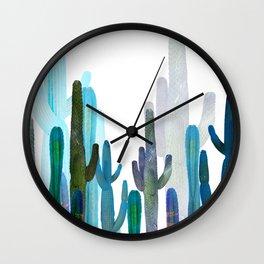 blue long cactus Wall Clock