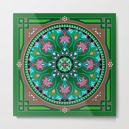 Boho Floral Crest Green Metal Print