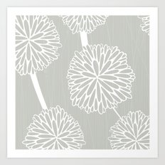 Pom Poms in Grey by Friztin Art Print