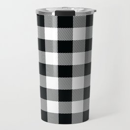 Buffalo Check Black White Plaid Pattern Travel Mug