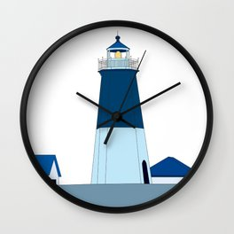 Lighthouse Illustration Beach Decor Ocean Blue Wall Clock