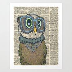 Owl wearing glasses Art Print