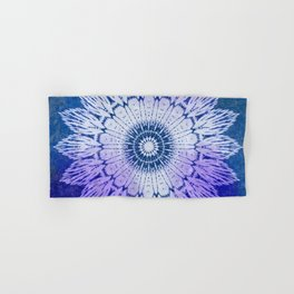tie dye sunflower mandala in blues Hand & Bath Towel