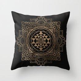 Sri Yantra  / Sri Chakra in golden lotus Throw Pillow