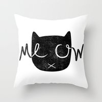 meow Throw Pillows featuring Meow by Laura O'Connor