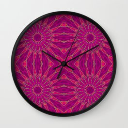 Colorful Magenta Pinwheel Flowers Wall Clock