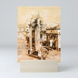 Roman Forum Sketch Mini Art Print
