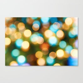 Abstract holiday Christmas background with blue and yellow Canvas Print
