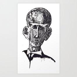 Old man woodblock Art Print
