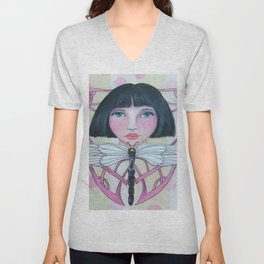 Art Deco Face and Dragonfly Unisex V-Neck