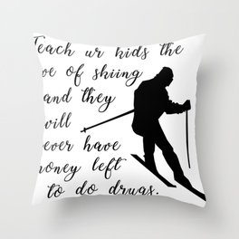 love for skiing winter Throw Pillow