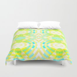 Funky geometry in yellow and blue Duvet Cover