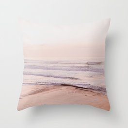 Dreamy Pink Pacific Beach Throw Pillow