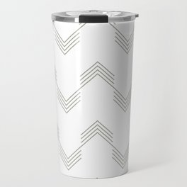 Simply Deconstructed Chevron Retro Gray on White Travel Mug