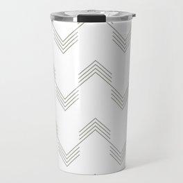 Simply Deconstructed Chevron Retro Gray on White Travel Mug