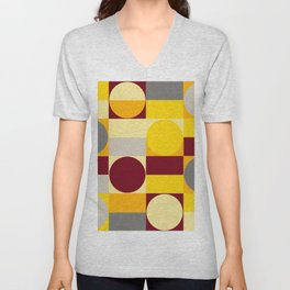Yellow and Gray Minimal Geometric Unisex V-Neck