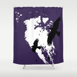 Odin Portrait and Silhouette of Ravens Vector Art Shower Curtain