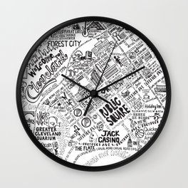 Cleveland Map Wall Clock