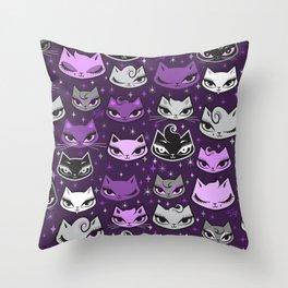 Purple Rockabilly Cats Throw Pillow