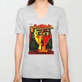 Pablo Picasso Woman In A Hat 1962 T Shirt, Artwork, tshirt, tee, jersey, poster, artwork Unisex V-Neck