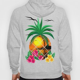Pineapple Tropical Sunset, Palm Tree and Flowers Hoody