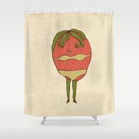 bikini Shower Curtains featuring Bikini-strawberry by MSarte