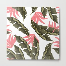 Abstract seamless tropical pattern with bright plants and leaves on a light background. Jungle leaf seamless vector floral pattern background. Beautiful exotic plants. Metal Print