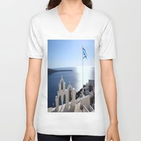 greece V-neck T-shirts featuring Greece by Shine Like Sunbeams