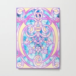 Art Nouveau Blue Pink and Yellow Batik Design Metal Print