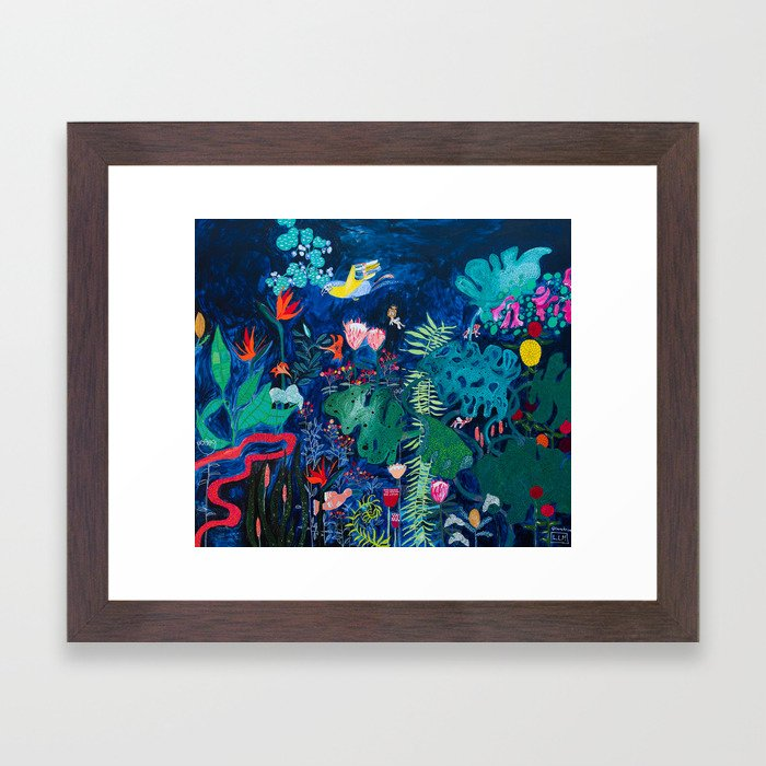 Brightly Rainbow Tropical Jungle Mural with Birds and Tiny Big Cats Framed Art Print