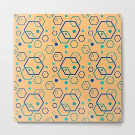 80s Graphic Hexagon Shapes Metal Print